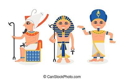 ファラオ, nemes, エジプト, セット, 古代, 君主, ベクトル, 頭飾り