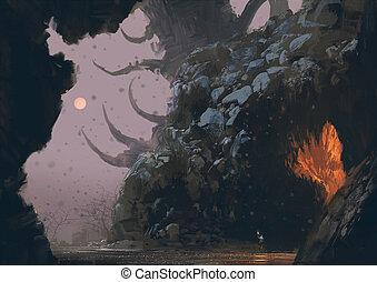 ファンタジー, ミステリー, 洞穴