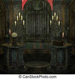 ファンタジー, 祭壇, sanctum, theme., レンダリング, 初期, 背景, 3d, setting...