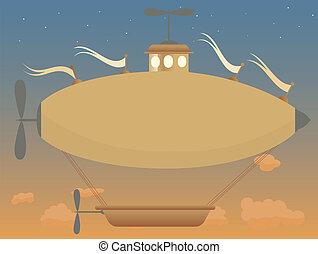 ファンタジー, 飛行船, セピア, baske, 夕闇