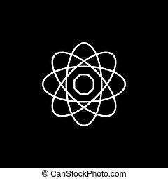 フィクション, 黒, アイコン, アイコン, 原子, 科学