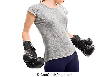 フィットしなさい, ボクシング用グラブ, 女の子, 終わり, 打撃
