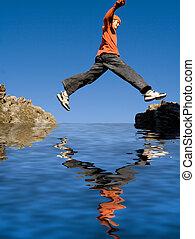 フィットしなさい, 健康, 休暇, 岩, 跳躍, 活動的, 子供