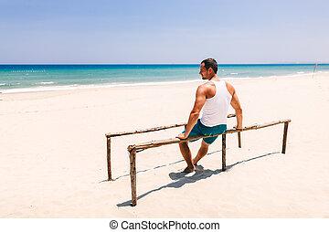 フィットネス, 人, 浜, ビューを支持しなさい