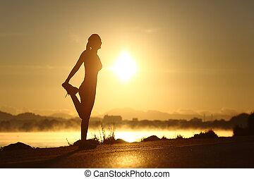 フィットネス, 女 シルエット, 日の出, 伸張