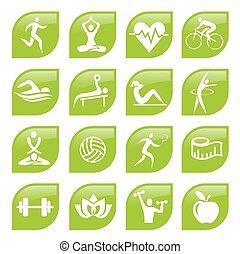 フィットネス, 緑, buttons., スポーツ, アイコン