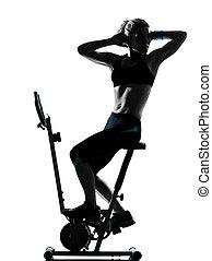 フィットネス, 試し, 女, biking, 姿勢