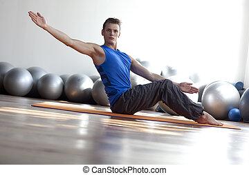 フィットネス, -, pilates, 練習する, 人