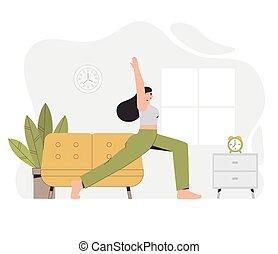 フィットネス, room.., 若い, ヨガ, style., 家, 暮らし, かみ合った, ベクトル, 家, 平ら, 概念, イラスト, 保温カバー, ヨガ, 女, lifestyle., 健康