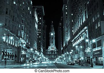 フィラデルフィア, 夜, 市役所, ペンシルバニア, アメリカ