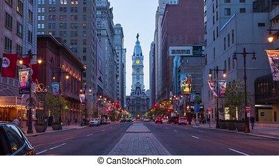 フィラデルフィア, 夜, timelapse, 4k