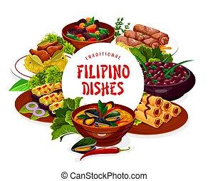 フィリピン人, フレーム, 料理, 旗, 皿, アジア人