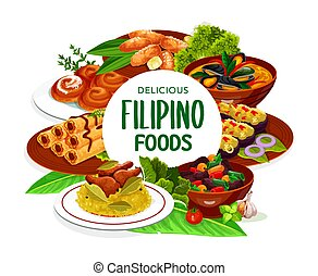 フィリピン人, フレーム, 料理, 皿, アジア人