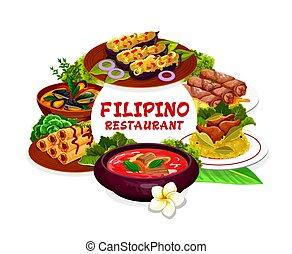 フィリピン人, 料理, フレーム, 皿, ラウンド
