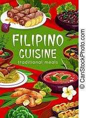 フィリピン人, 食事, 料理, ベクトル, 皿, ポスター