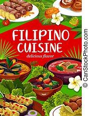 フィリピン人, 食物, 料理, 皿, 国民, アジア人