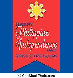 フィリピン, 日, ベクトル, 独立, format., カード