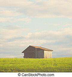フィルター, 木製である, 効果, 小屋, フィールド, レトロ