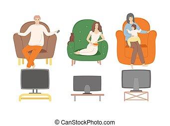 フィルム, 監視 テレビ, ショー, 家, 人々