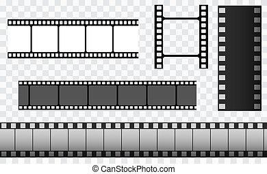 フィルム, 35mm, フレーム, スライド, ストリップ, 媒体, 回転しなさい, ストリップ, 映画館, 否定的, templates., filmstrip., ベクトル