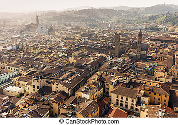 フィレンツェ, 航空写真, sunn, 光景