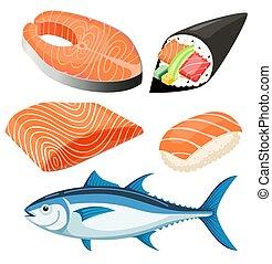 フィレ, 鮭, illustration., ベクトル