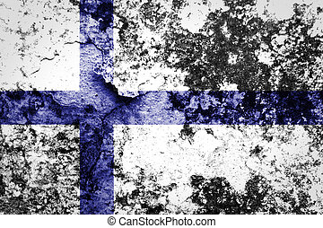 フィンランドの旗, ペイントされた, 上に, グランジ, 壁