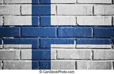 フィンランドの旗, 上に, れんがの壁