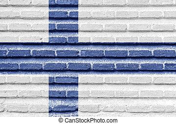 フィンランドの旗, 上に, ∥, 古い, れんがの壁