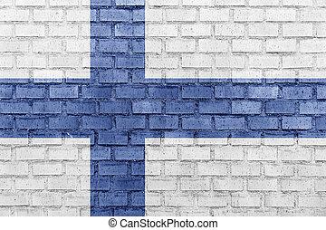 フィンランドの旗, 上に, a, れんがの壁