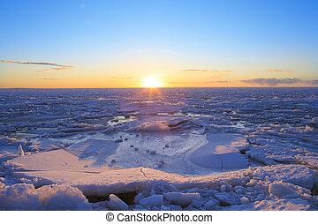 フィンランド, 湾, 沈んでいく太陽, 上に