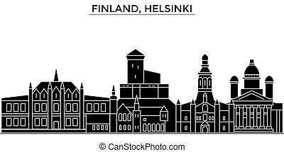 フィンランド, 都市, 建物, 旅行, ヘルシンキ, 光景, 隔離された, ランドマーク, ベクトル, 建築, 背景, 都市の景観, スカイライン