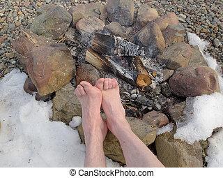 フィート, キャンプファイヤー, 裸, 冬, 暖まること