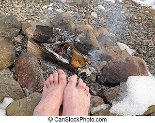 フィート, キャンプファイヤー, 裸, 暖まること