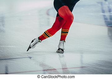 フィート, クローズアップ, 運動選手, スケーター, 女性