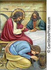 フィート, メアリー magdalene, 洗う, j