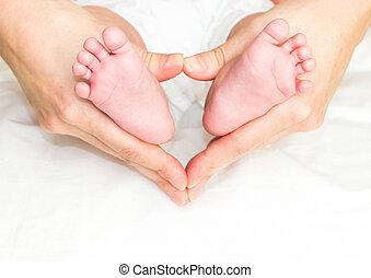 フィート, 手, 赤ん坊, 母