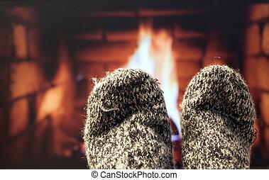 フィート, 毛織りである, 暖炉, ソックス