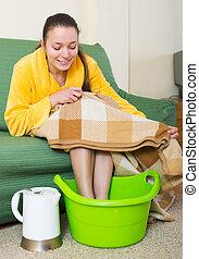フィート, 洗面器, 女, 暖まること