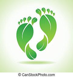 フィート, 葉, 作られた, 緑
