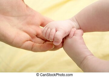 フィート, 赤ん坊, 手, 遊び, 母