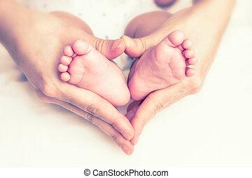 フィート, 赤ん坊, 母, 手