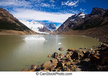 フィート, cerro, torre, アルゼンチン, andes, fitz, 湖, roy