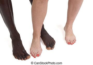 フィート, interracial カップル, 足, 白