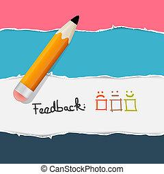 フィードバック, paper., 引き裂かれた, レトロ, 背景, pencil.