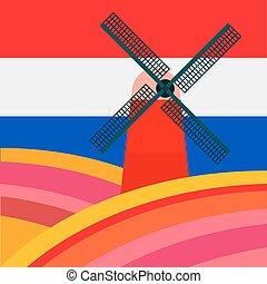 フィールド, に対して, 旗, 背景, オランダ語, 製粉所, tulipan