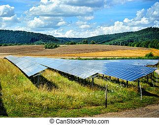 フィールド, エネルギー, 風景, 太陽