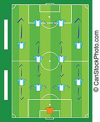 フィールド, ゲーム, サッカー, プレーする, チーム