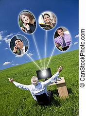 フィールド, コンピュータ, 緑, ネットワーク, ビジネスマン