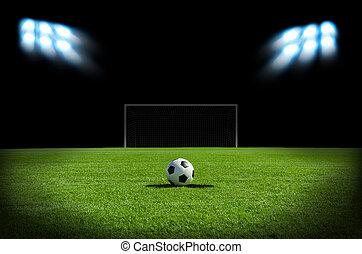 フィールド, サッカーボール, 緑